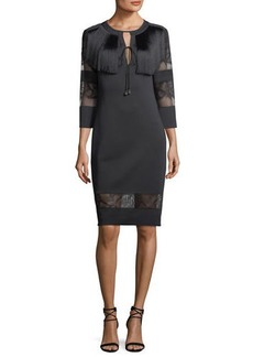 Tadashi Round-Neck Neoprene Cocktail Dress w/ Lace & Fringe Detail