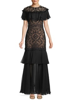 Tadashi Ruffle & Lace Trumpet Gown