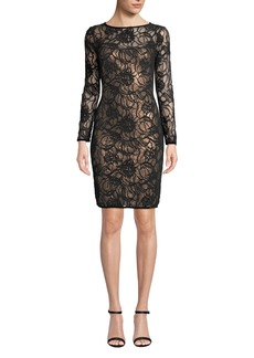 Tadashi Sequin & Lace Long-Sleeve Dress