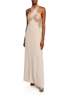 Tadashi Sequin Crepe Halter Gown