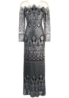 Tadashi sequin embroidered evening dress