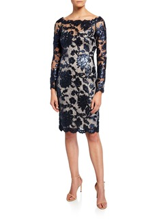 Tadashi Sequin Lace Boat-Neck Long-Sleeve Cocktail Dress