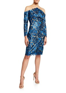 Tadashi Sequin Lace Long-Sleeve Cocktail Dress with Illusion Neckline