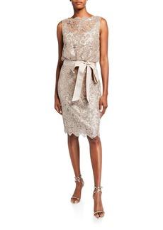 Tadashi Sequin Lace Sleeveless Dress with Waist Tie