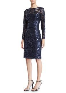 Tadashi Sequin Swirl Long-Sleeve Dress