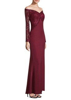 Tadashi Sequin Top Floor-Length Gown