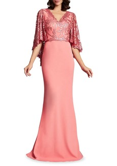 Tadashi Sequined Capelet Double-V Crepe Gown
