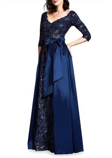 Tadashi Sequined Lace & Taffeta Double-V Gown