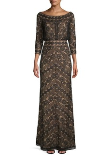 Tadashi Sequined Lace Gown