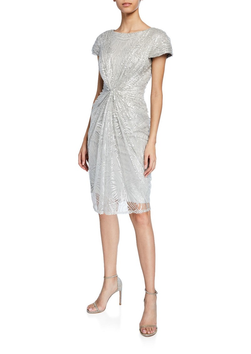 Sequined-Lace Short-Sleeve Cocktail Dress