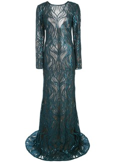 Tadashi sequinned lace gown
