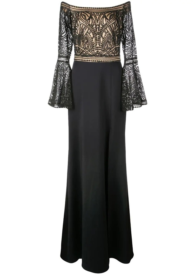 Tadashi sequinned strapless gown