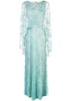 Tadashi sheer cape evening dress