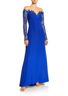Tadashi Sheer Yoke Crepe Illusion Gown with Sequin Lace Sleeves
