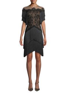 Tadashi Short Dress w/ Lace Bodice & Fringe Skirt