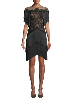 Tadashi Short Dress w/ Lace Bodice & Fringe Skirt