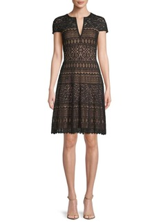 Tadashi Short-Sleeve Embroidered Fit-and-Flare Dress