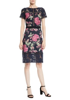 Tadashi Short-Sleeve Lace & Pleated Floral Cocktail Dress