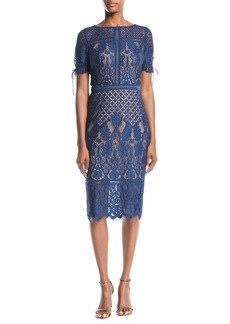 Tadashi Short-Sleeve Lace Dress w/ Tie Details