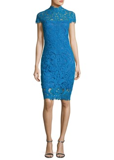 Tadashi Short-Sleeve Lace Illusion Cocktail Dress