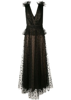 Tadashi sleeveless embroidered dotted tulle gown
