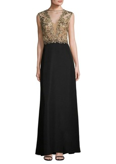 Tadashi Sleeveless Illusion Lace-Trimmed Gown