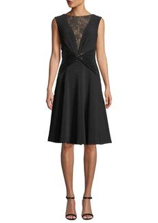 Tadashi Sleeveless Jersey Pintuck Dress w/ Lace