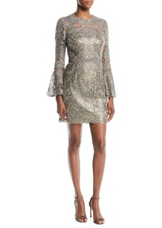 Tadashi Somerset Sequin Lace Dress w/ Bell Sleeves & Embroidery