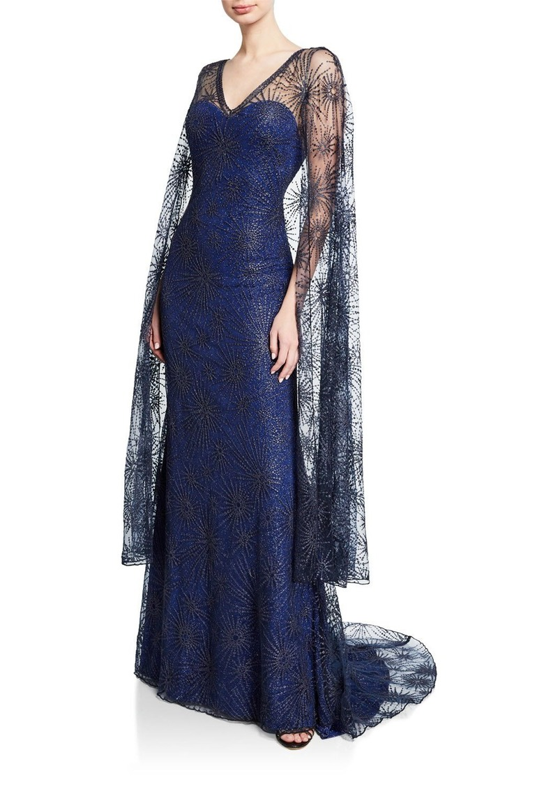 Tadashi Starburst Lace Gown with Cape Overlay