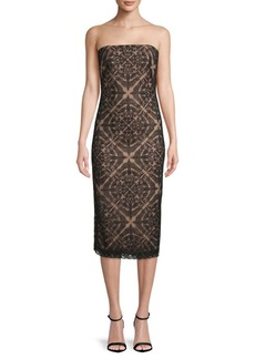 Tadashi Strapless Lace Midi Dress