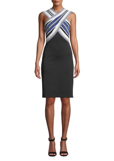 Tadashi Striped Halter-Neck Dress w/ Contrast Skirt