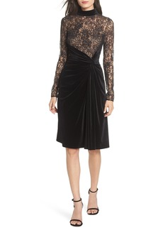 T by Tadashi Lace & Velvet Sheath Dress