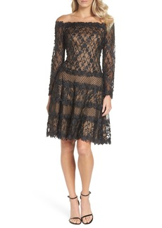 Tadashi Shoji 3D Flower Off the Shoulder Dress