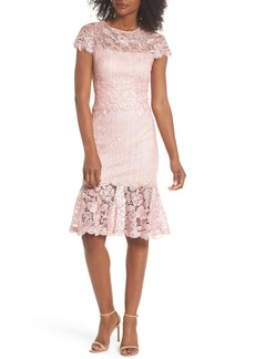 Tadashi Shoji Alice Flounce Hem Lace Dress (Regular & Petite)