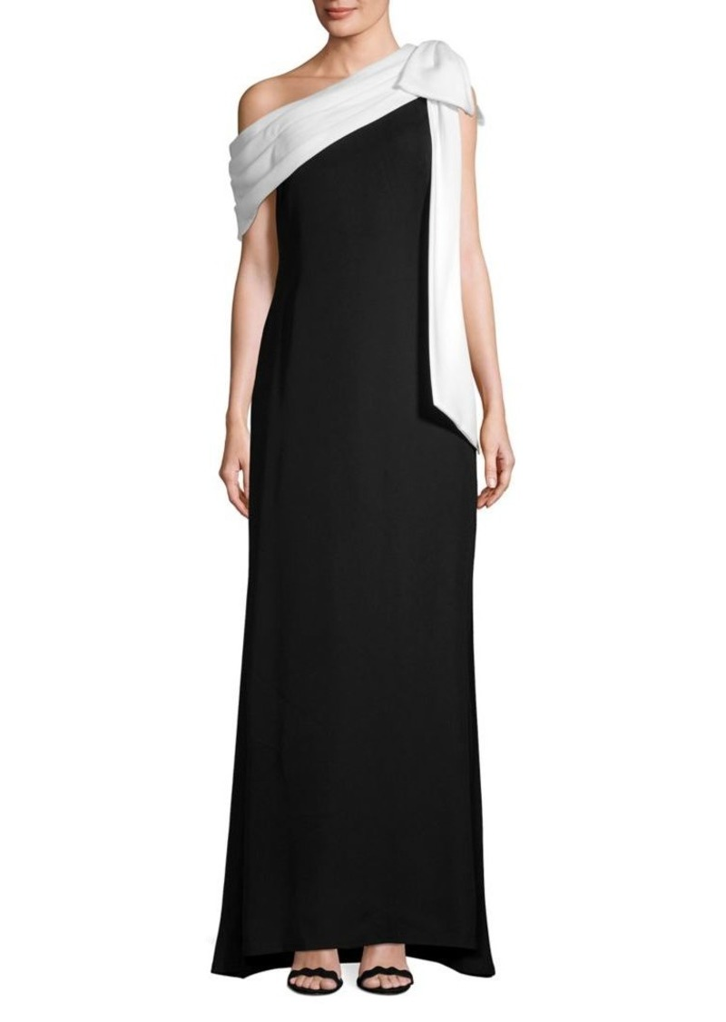 Tadashi Shoji Asymmetrical Drape-Tie Gown