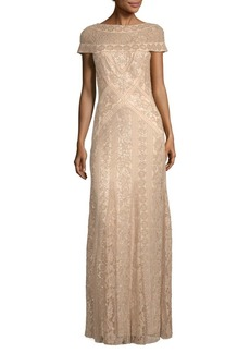 Tadashi Boatneck Sequin Evening Dress
