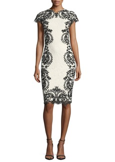 Tadashi Shoji Cap-Sleeve Boat-Neck Lace Embroidered Cocktail Dress