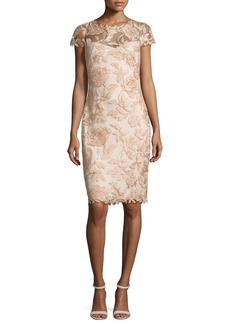 Tadashi Shoji Cap-Sleeve Embroidered Metallic Cocktail Dress