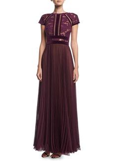 Tadashi Shoji Cap-Sleeve Lace Evening Gown w/ Pleated Chiffon Skirt