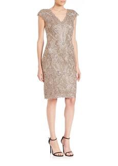 Tadashi Cap Sleeve Lace Sheath Dress