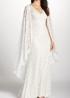 Tadashi Shoji Cape Detail Lace Gown