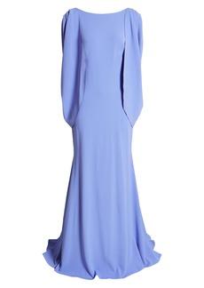 Tadashi Shoji Cape Long Sleeve Crepe Gown