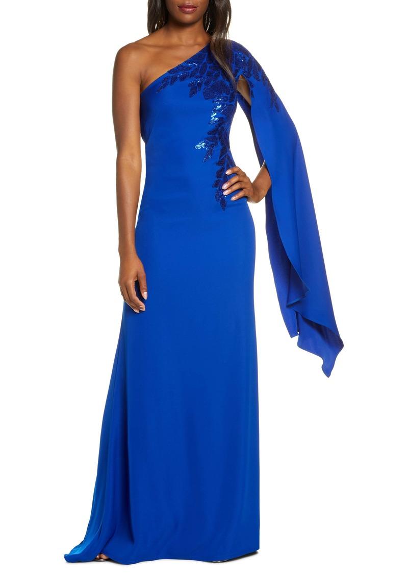 Tadashi Shoji Cape Sleeve Crepe Evening Dress