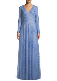 Tadashi Celestial Lace V-Neck Long-Sleeve Gown