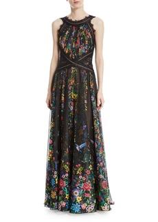 Tadashi Chiffon Halter Open-Back Floral-Motif Gown