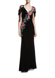 Tadashi Shoji Cold-Shoulder Velvet Evening Gown w/ Floral Appliqué