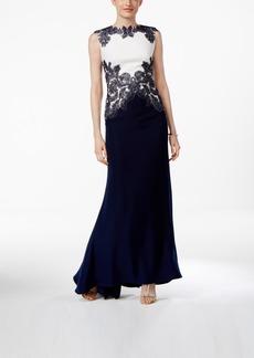 Tadashi Shoji Colorblocked Lace Gown