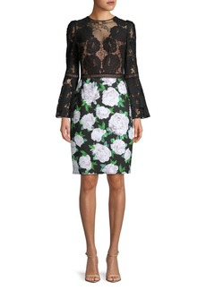 Tadashi Shoji Contrast Floral Bell-Sleeve Dress