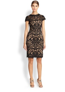Tadashi Shoji Cord-Embroidered Lace Cocktail Dress