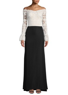 Tadashi Crochet-Lace Bell-Sleeve Crepe Gown